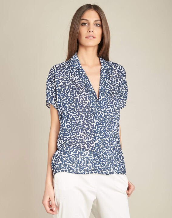 Gisors navy blue blouse with floral print (3) - 1-2-3