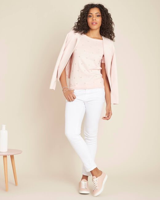 Nebuleuse pale pink sweater with embroidered constellation (1) - 1-2-3