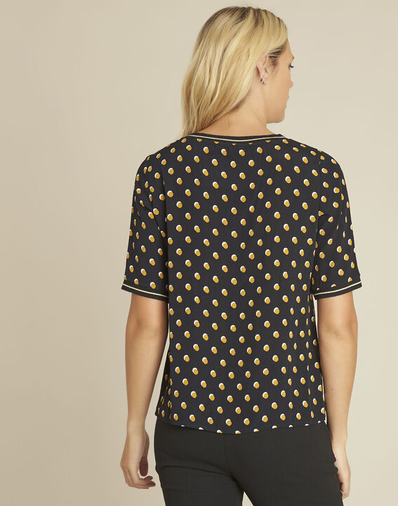 Charlie black blouse with yellow polka dots (4) - 1-2-3