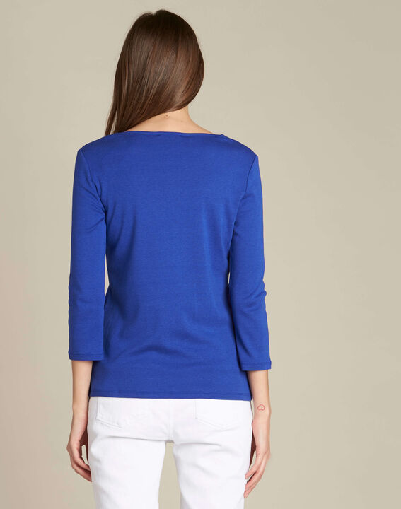 Royal blue T-shirt with eyelets on the neckline (4) - 1-2-3
