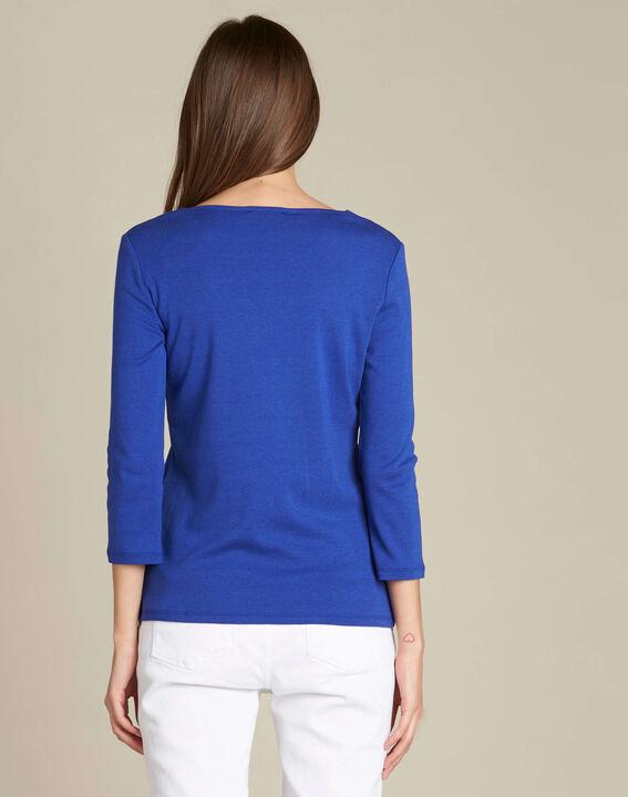 Königsblaues T-Shirt mit Ösen-Ausschnitt (4) - 1-2-3