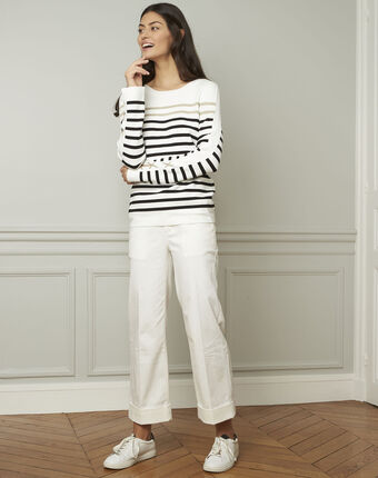 Amiral pullover with stripes and lacing details ecru.