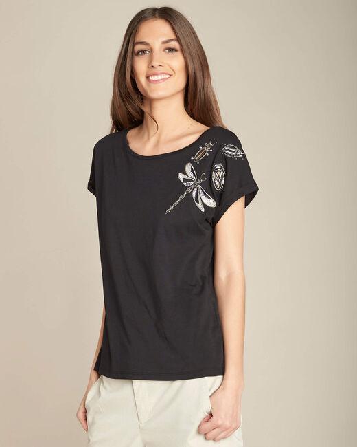 Schwarzer Kurzarm-T-Shirt mit Stickereien Epirrhoe (2) - 1-2-3