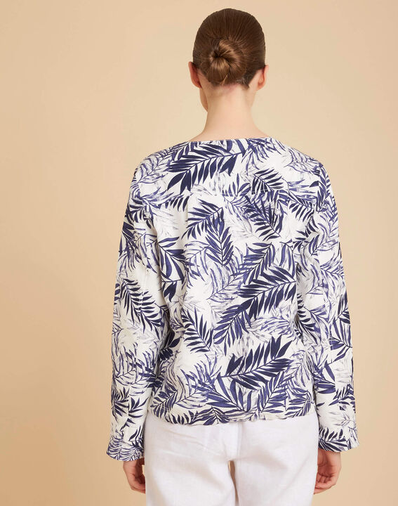 Fibie indigo cropped palm print jacket (4) - 1-2-3