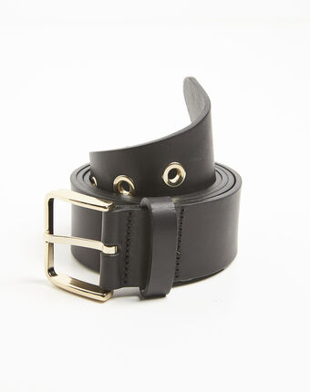 Quincy black leather belt with a gold tone buckle black.