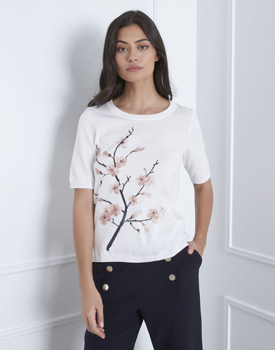 Pull écru imprimé fleuri Aubepine (2) - Maison 123