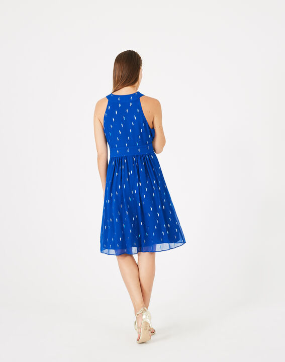 Groove royal blue dress with silver leaf design (5) - 1-2-3