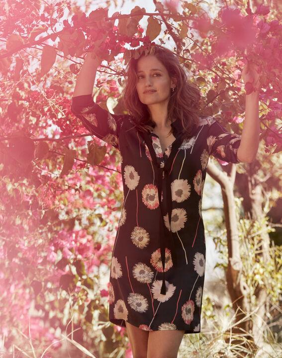 Robe noire imprimé fleuri Léontine PhotoZ | 1-2-3