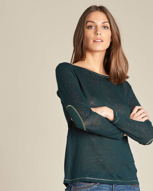 Elin fine forest green T-shirt in linen with golden topstitching (2) - 1-2-3