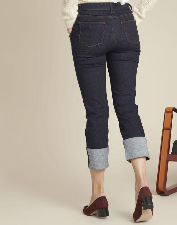 Navy straight-leg cotton-blend jeans (4) - Maison 123