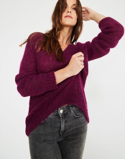 Cassisfarbener Pullover mit V-Ausschnitt aus Mohair und Alpaka Paprika (2) - 1-2-3
