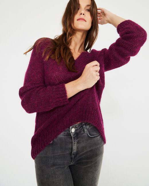 Paprika blackcurrant V-neck sweater in mohair and alpaca (2) - 1-2-3