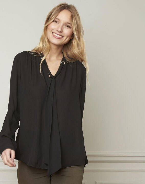 Valence black blouse with neckline ribbon tie  (1) - 1-2-3