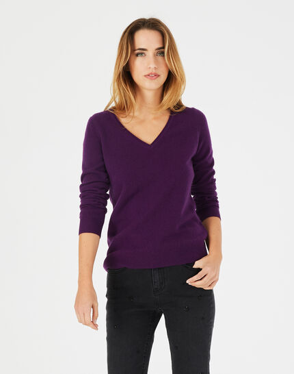 Pivoine blackcurrant V-neck sweater in cashmere (2) - 1-2-3