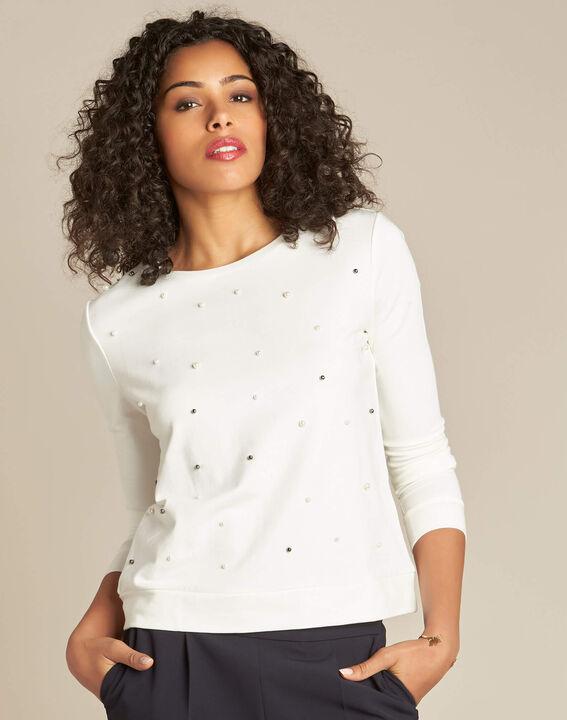 Sweatshirt écru orné de perles Beco (3) - 1-2-3