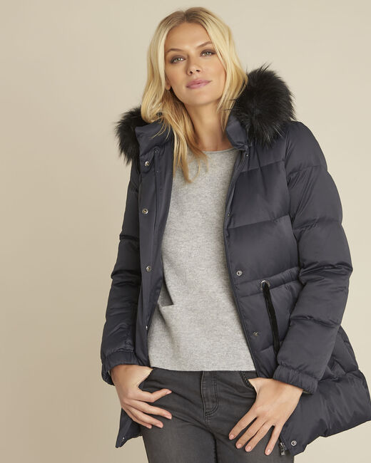 Peggy navy faux fur hooded down jacket (2) - 1-2-3