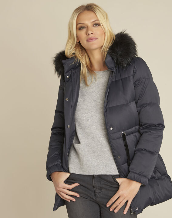Peggy navy faux fur hooded down jacket PhotoZ | 1-2-3