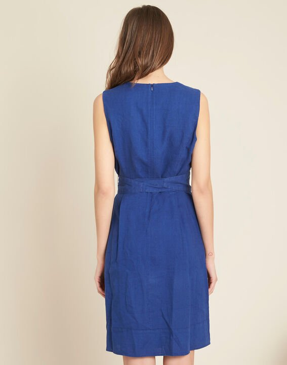 Poppy blue linen dress with belt (4) - 1-2-3