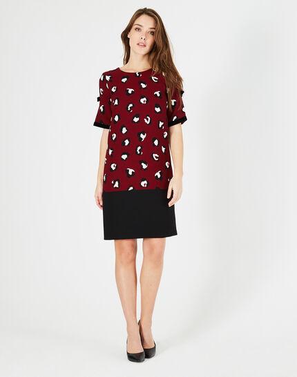 Bella burgundy printed dress (3) - 1-2-3