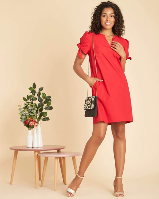 Robe rouge en coton manches fantaisies Pop (1) - 1-2-3
