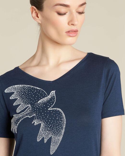 Marineblaues T-Shirt mit Vogelprint Envol (1) - 1-2-3