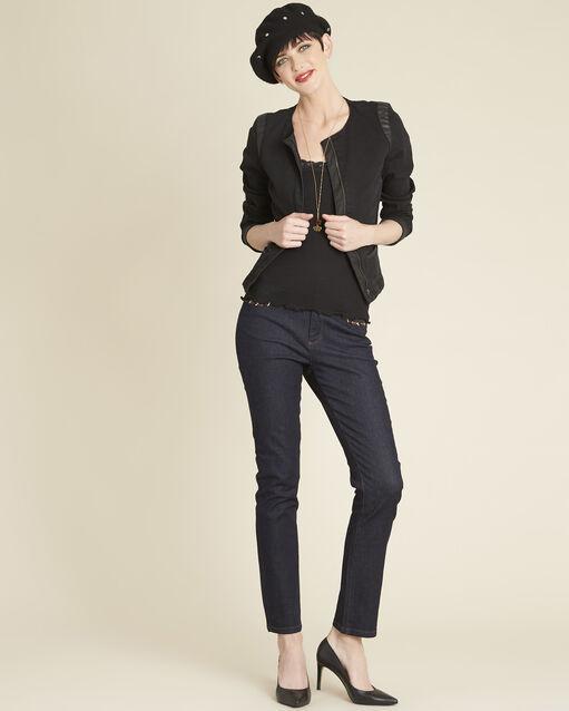 Veste noire en jean biais faux cuir Saxo (2) - 1-2-3