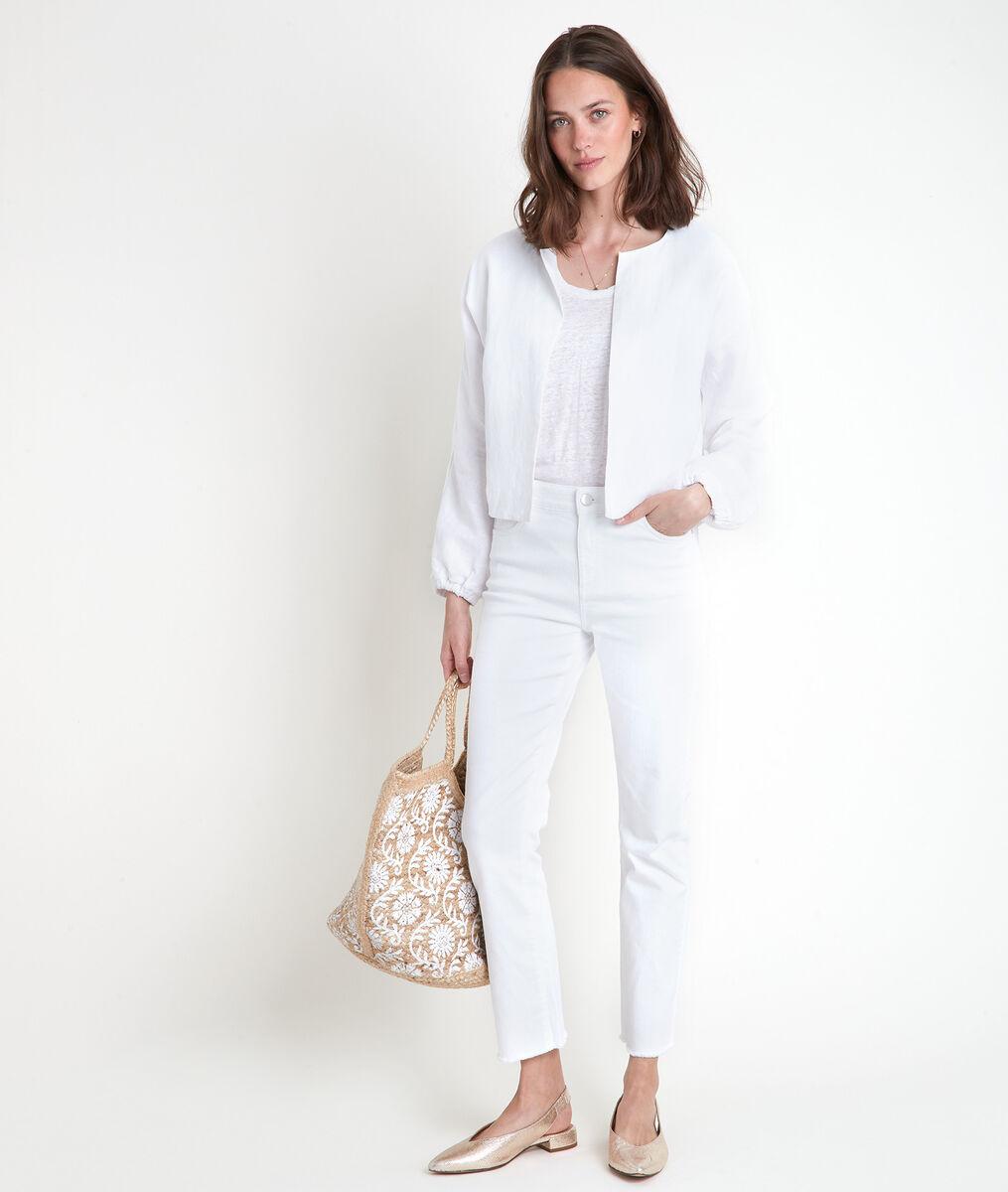 Veste courte en lin blanc Taya PhotoZ   1-2-3
