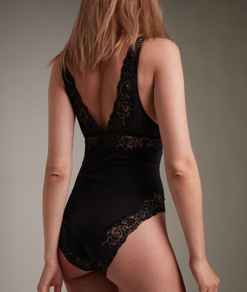Body en tulle coton et dentelle française noir Jeanne PhotoZ | 1-2-3