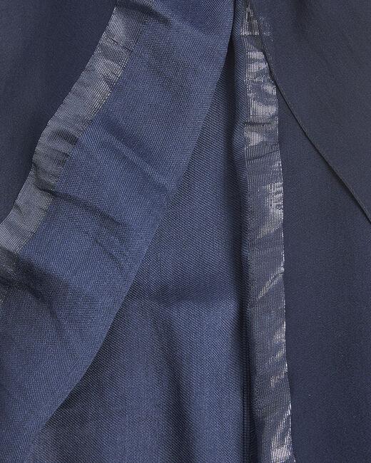 Foulard soie et modal bleu fils irrisés Fidji (1) - 1-2-3