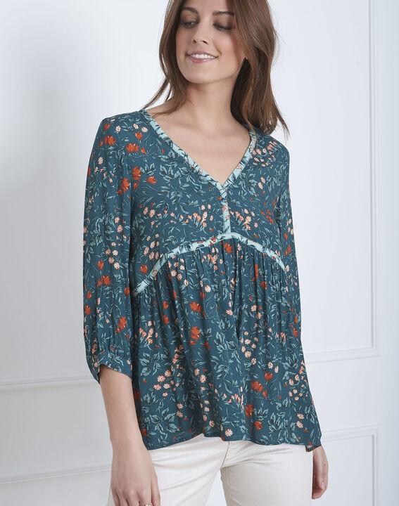 Grüne Bluse mit floralem Printmuster Vinter PhotoZ | 1-2-3