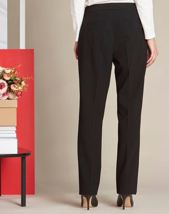 Pantalon noir droit en microfibre Vasco (4) - 1-2-3
