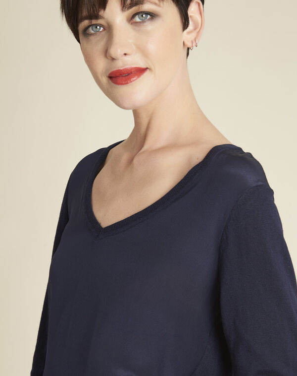 Marineblauwe trui met V-hals van katoen en zijde Bliss (2) - 37653