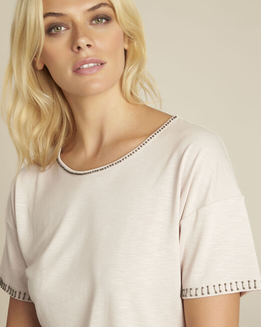 Tee-shirt rose encolure fantaisie Gilda (2) - 1-2-3