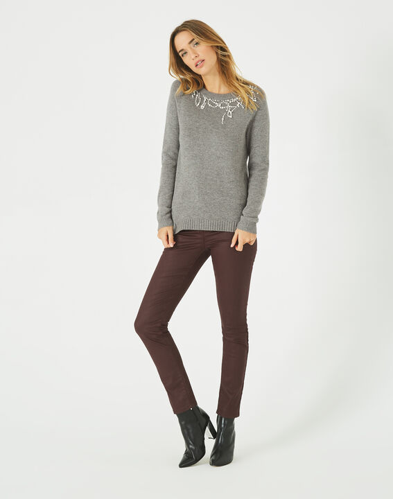 Perle beaded grey wool-blend sweater PhotoZ | 1-2-3