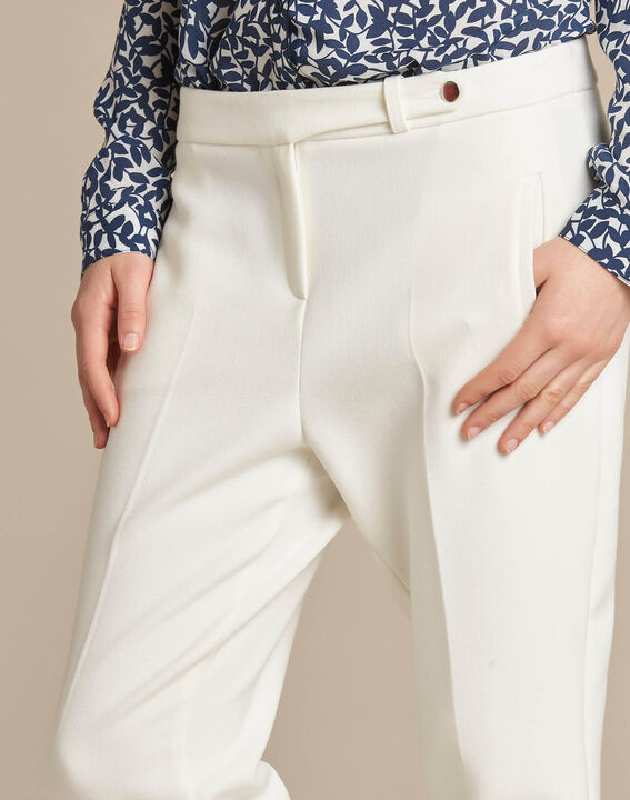 Lara slim-cut tailored ecru trousers (3) - 1-2-3
