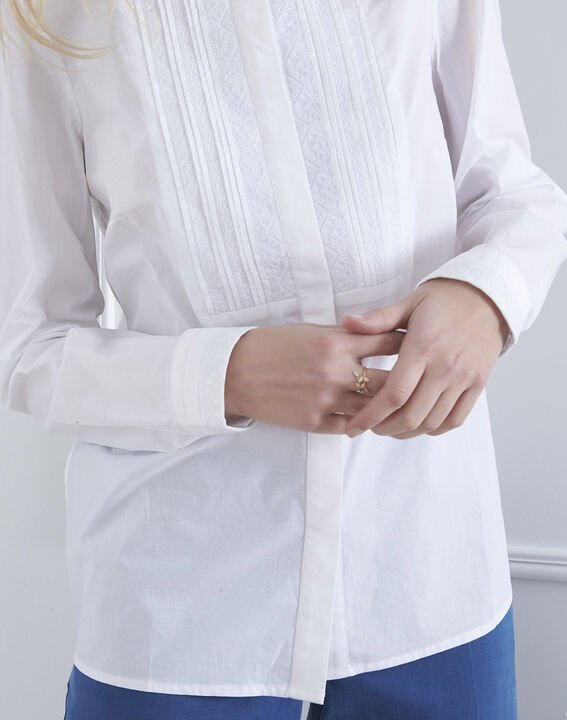 Ecrufarbene Bluse mit besticktem Plastron Vahina (3) - Maison 123