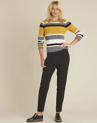 Bastien amber striped wool mix pullover ochre.