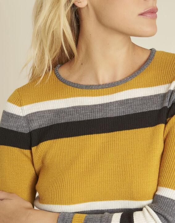 Amberkleurige trui met strepen van gemengd wol Bastien (3) - 37653