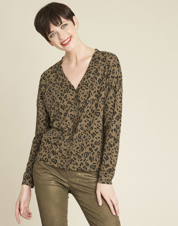 Garingue animal print khaki T-shirt (1) - Maison 123