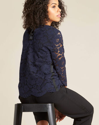 Geraldine navy blue lace blouse navy.