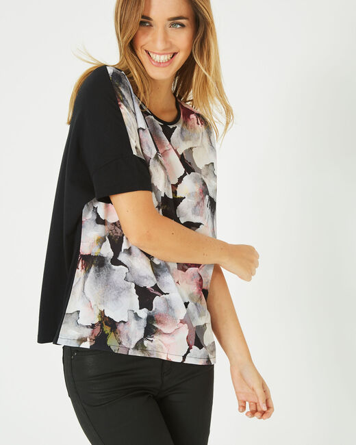 Tee-shirt noir imprimé fleurs Blush (2) - 1-2-3