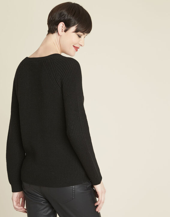 Bountie black wool mix pullover with lacing detail (4) - Maison 123