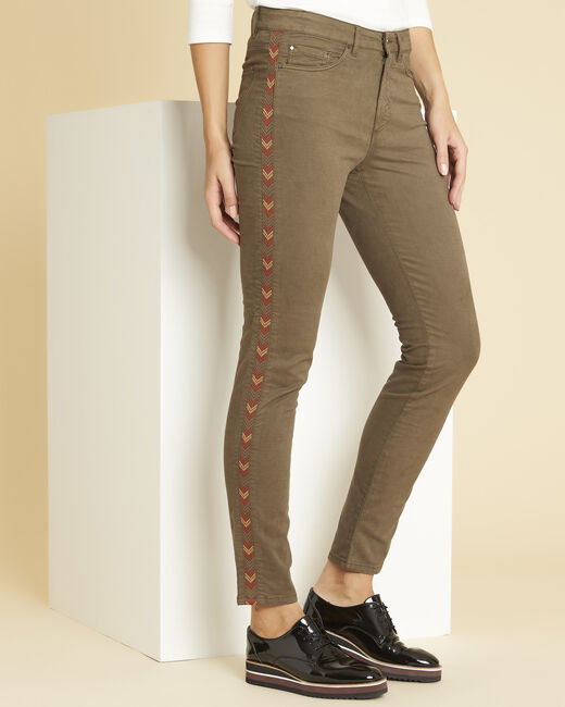 Vendôme khaki 7/8-length jeans with decorative detailing on the side (1) - 1-2-3