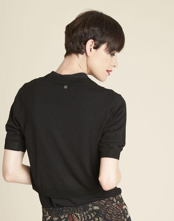Zwarte bolero van dun tricot Basilic (4) - Maison 123