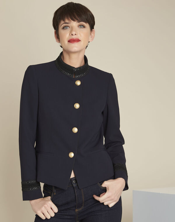 Shelby navy officer-style jacket with collar detailing (2) - 1-2-3
