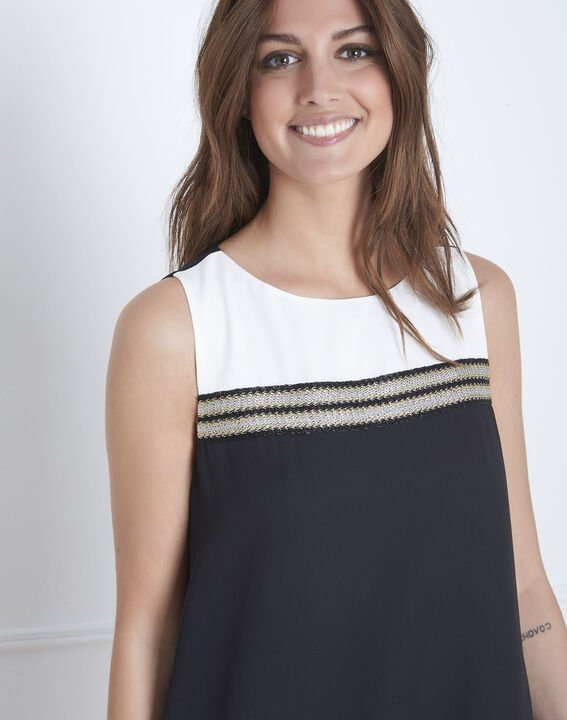 Isola black and white dress with gold detailing (3) - 1-2-3