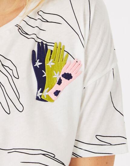 Tee-shirt écru imprimé mains Badge (3) - 1-2-3