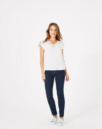 Tee-shirt écru bi-matière beryl ecru.