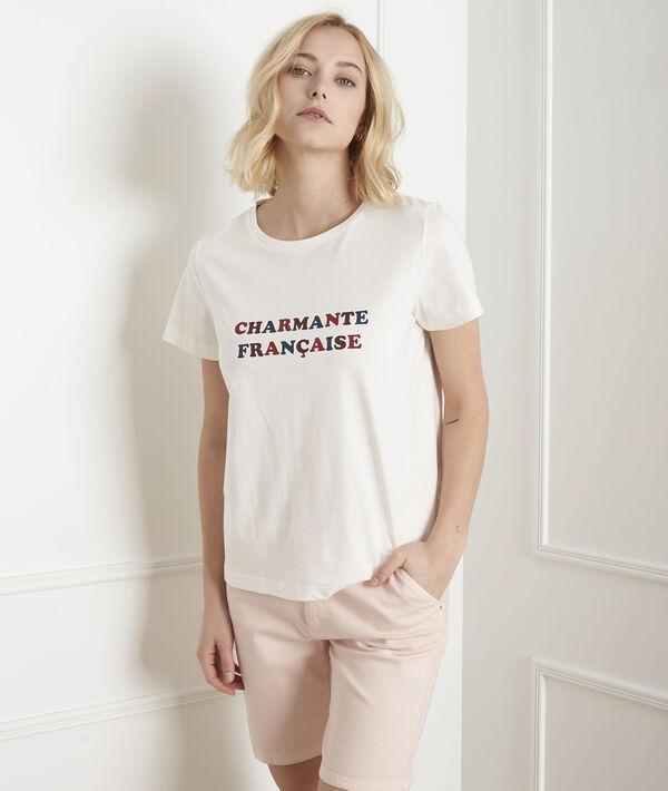 Ecru T-shirt met print Parmante PhotoZ | 1-2-3