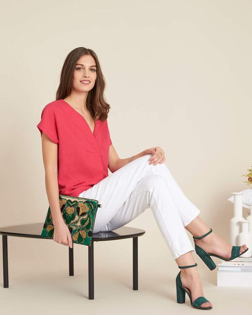 Tee-shirt fuchsia bimatière col tunisien Gaia (1) - 1-2-3